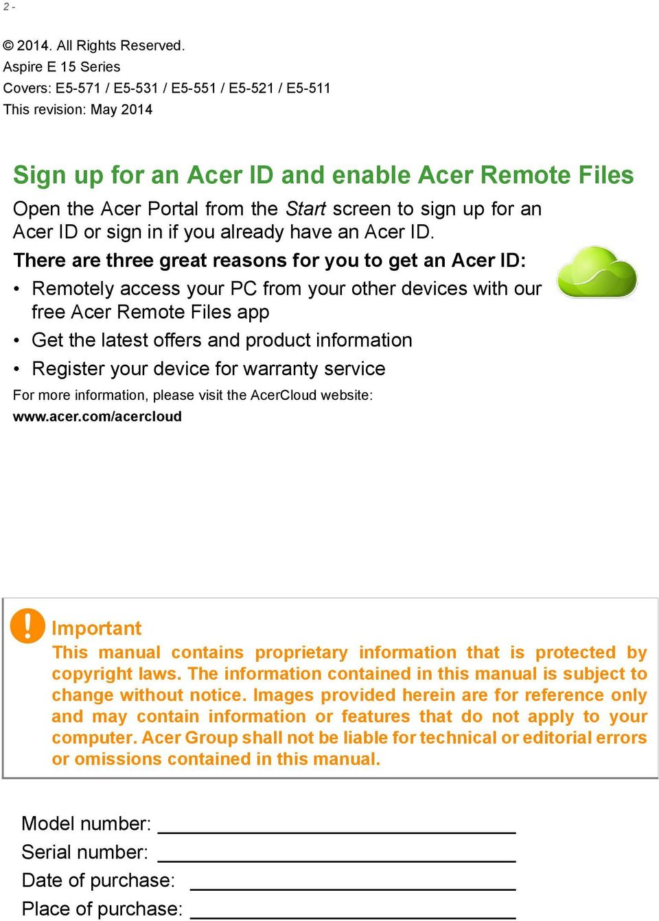 for an Acer ID or sign in if you already have an Acer ID.