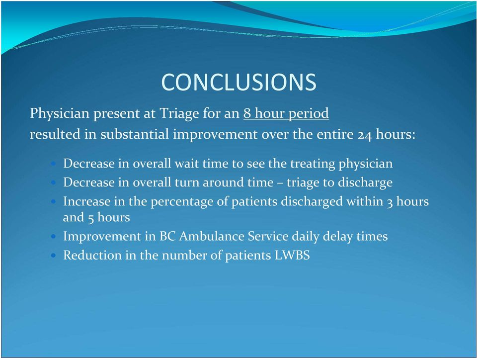 turn around time triage to discharge Increase in the percentage of patients discharged within 3 hours