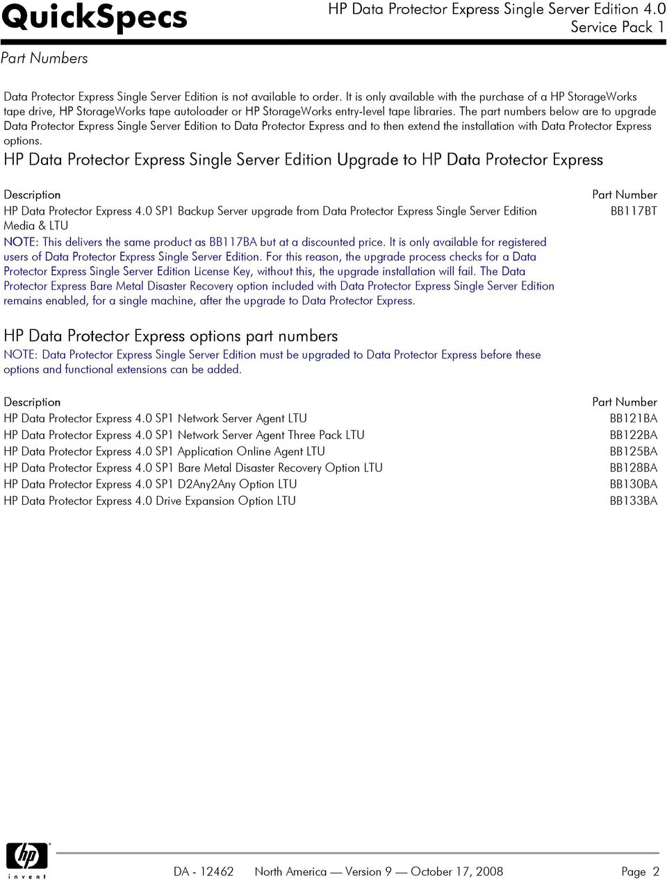 The part numbers below are to upgrade Data Protector Express Single Server Edition to Data Protector Express and to then extend the installation with Data Protector Express options.