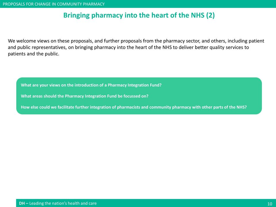 patients and the public. What are your views on the introduction of a Pharmacy Integration Fund? What areas should the Pharmacy Integration Fund be focussed on?