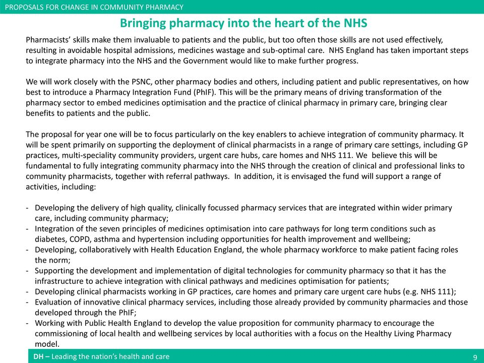 NHS England has taken important steps to integrate pharmacy into the NHS and the Government would like to make further progress.
