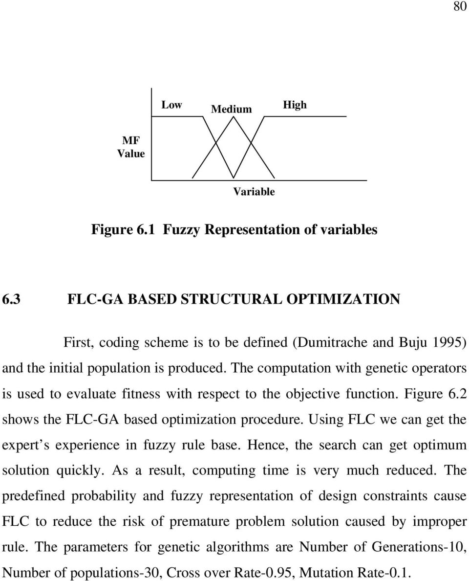The computation with genetic operators is used to evaluate fitness with respect to the objective function. Figure 6.2 shows the FLC-GA based optimization procedure.