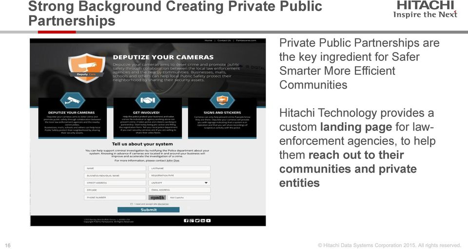 Communities Hitachi Technology provides a custom landing page for