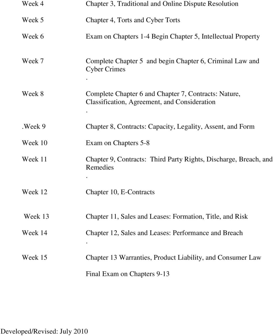 Legality, Assent, and Form Week 10 Exam on Chapters 5-8 Week 11 Week 12 Chapter 9, Contracts: Third Party Rights, Discharge, Breach, and Remedies Chapter 10, E-Contracts Week 13 Week 14 Week 15