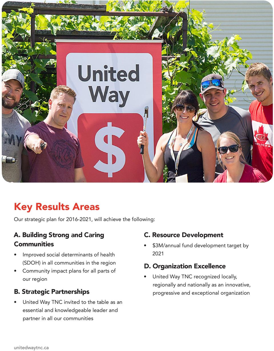 of our region B. Strategic Partnerships United Way TNC invited to the table as an essential and knowledgeable leader and partner in all our communities C.