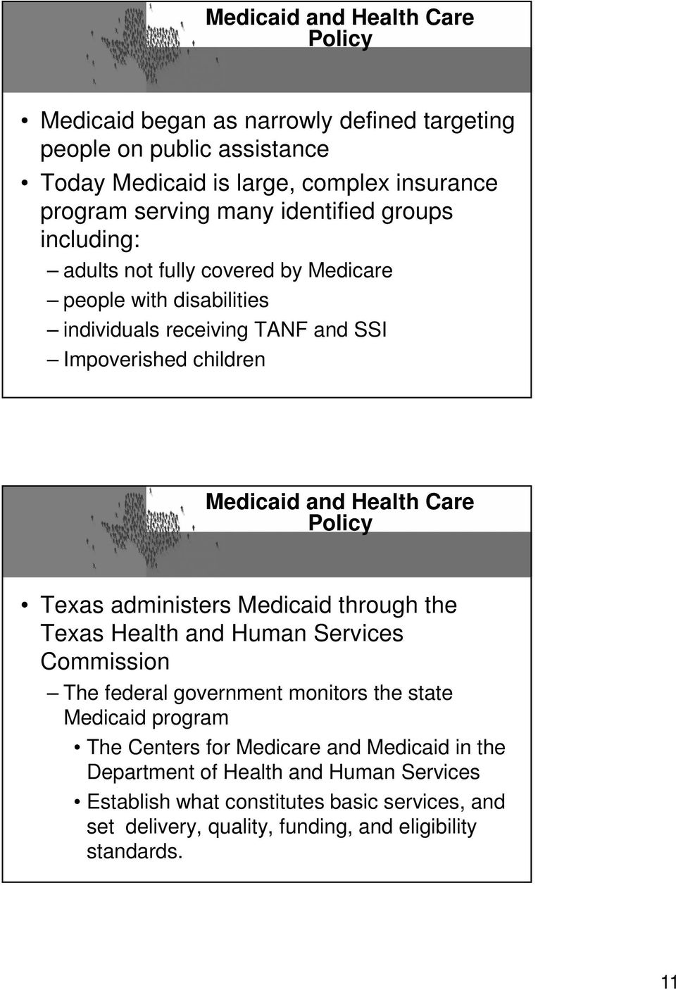 Care Policy Texas administers Medicaid through the Texas Health and Human Services Commission The federal government monitors the state Medicaid program The Centers for