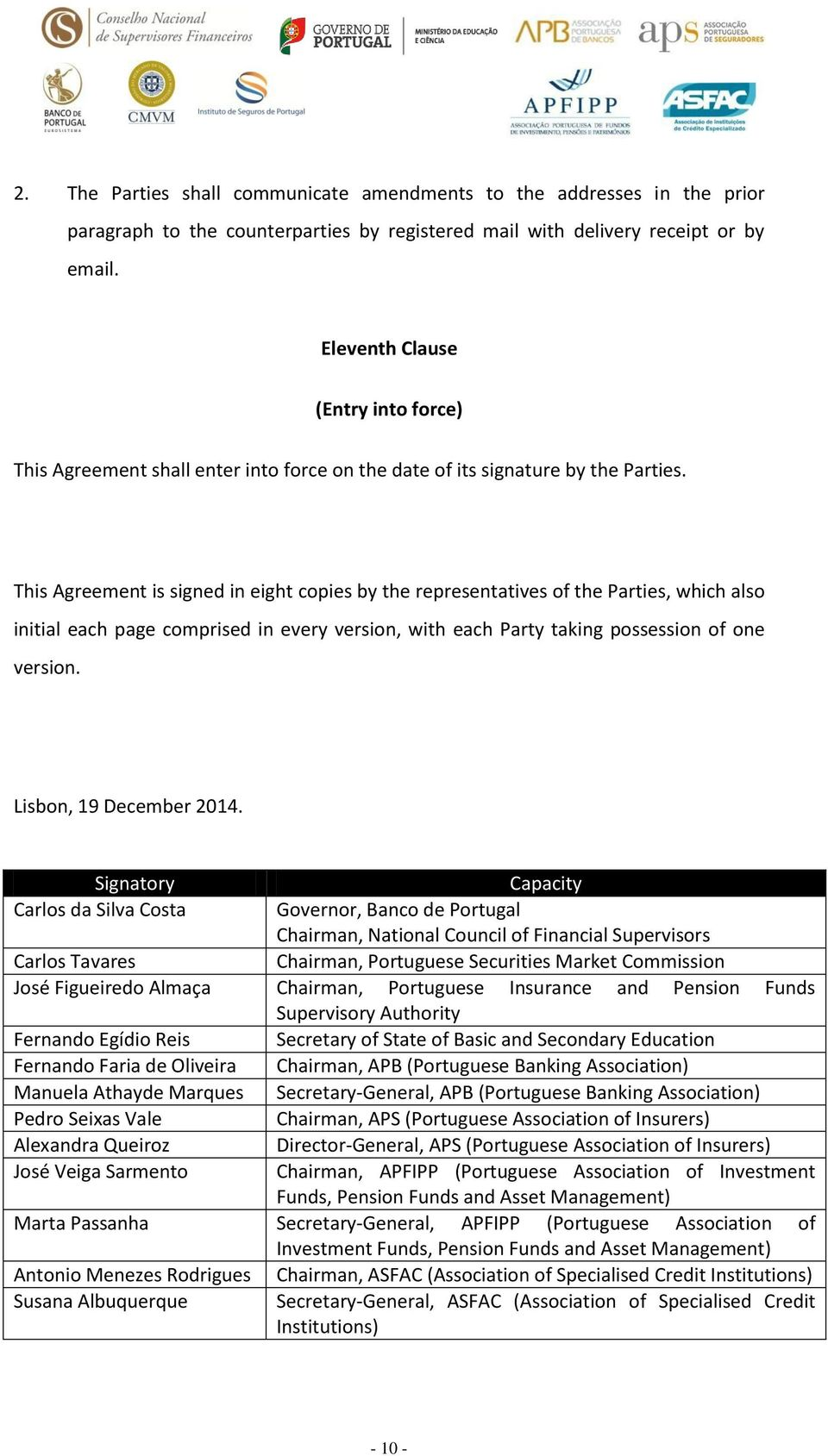 This Agreement is signed in eight copies by the representatives of the Parties, which also initial each page comprised in every version, with each Party taking possession of one version.