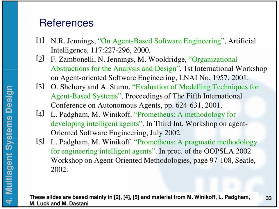 Sturm, Evaluation of Modelling Techniques for Agent-Based Systems, Proceedings of The Fifth International Conference on Autonomous Agents, pp. 624-631, 2001. [ 4. ] L. Padgham, M. Winikoff.