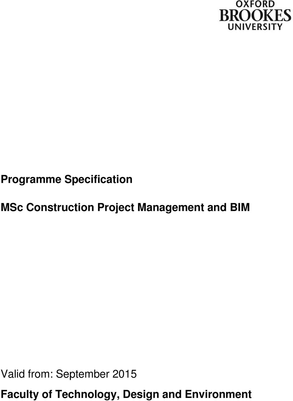 and BIM Valid from: September 2015