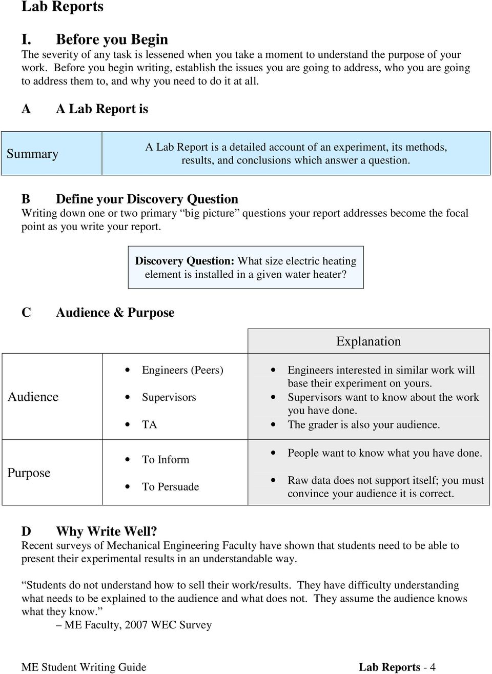 A A Lab Report is Summary A Lab Report is a detailed account of an experiment, its methods, results, and conclusions which answer a question.