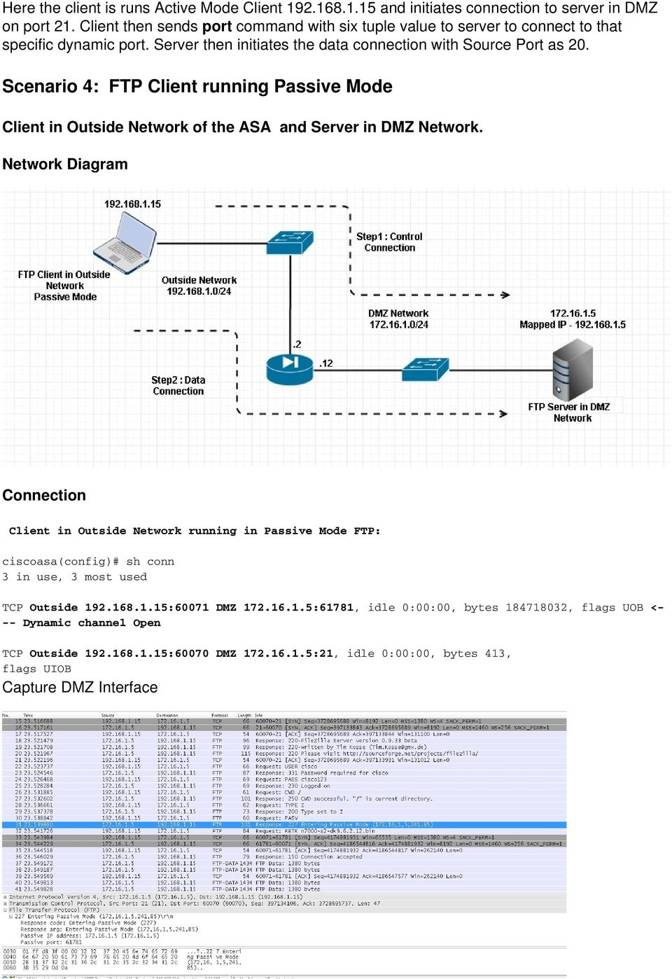 Scenario 4: FTP Client running Passive Mode Client in Outside Network of the ASA and Server in DMZ Network.