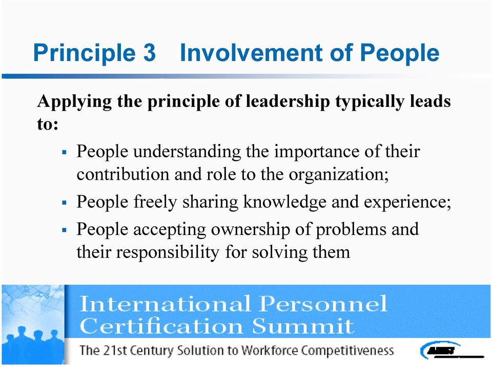 contribution and role to the organization; People freely sharing knowledge