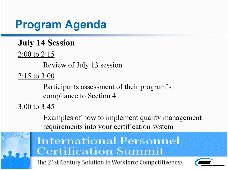 their program s compliance to Section 4 Examples of how to