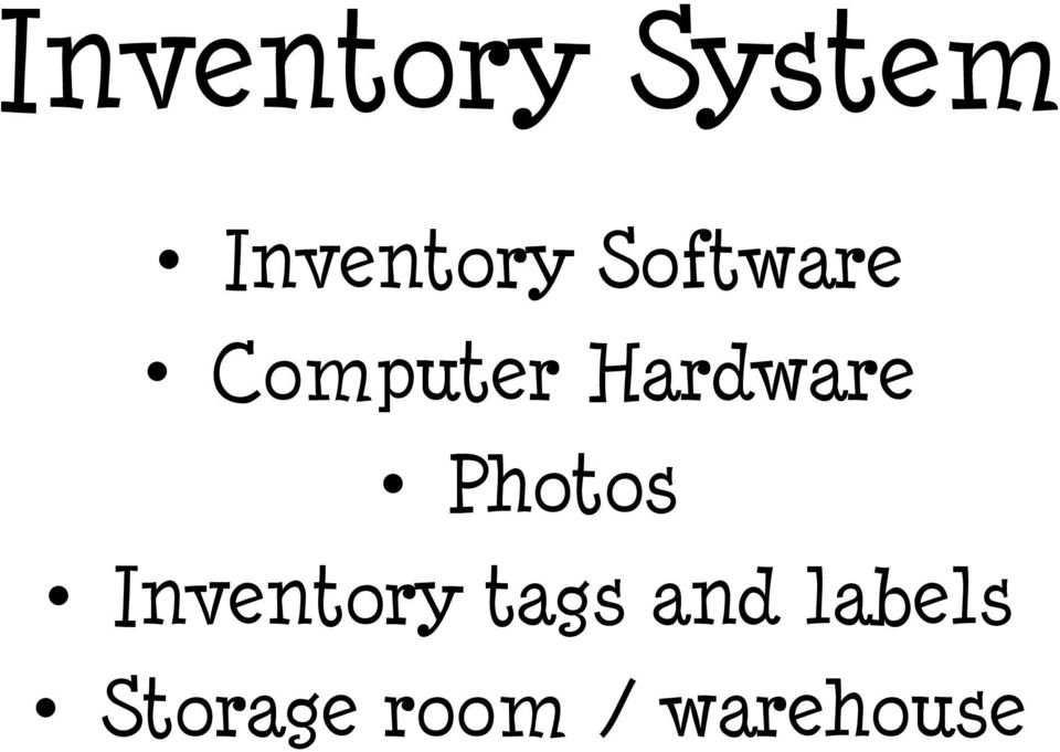 Photos Inventory tags and