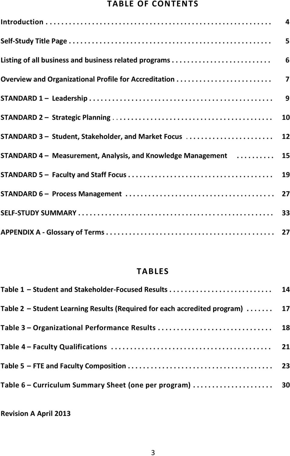 ......................................... 10 STANDARD 3 Student, Stakeholder, and Market Focus....................... 12 STANDARD 4 Measurement, Analysis, and Knowledge Management.