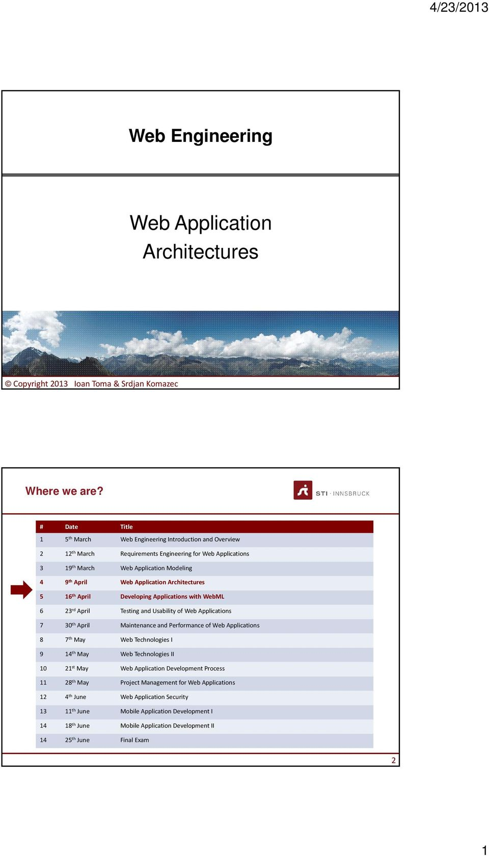 Architectures 5 16 th April Developing Applications with WebML 6 23 rd April Testing and Usability of Web Applications 7 30 th April Maintenance and Performance of Web Applications 8 7 th May Web