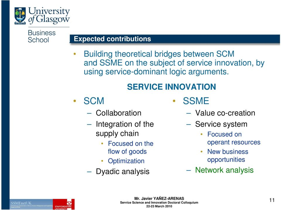 SERVICE INNOVATION SCM Collaboration Integration of the supply chain Focused on the flow of goods