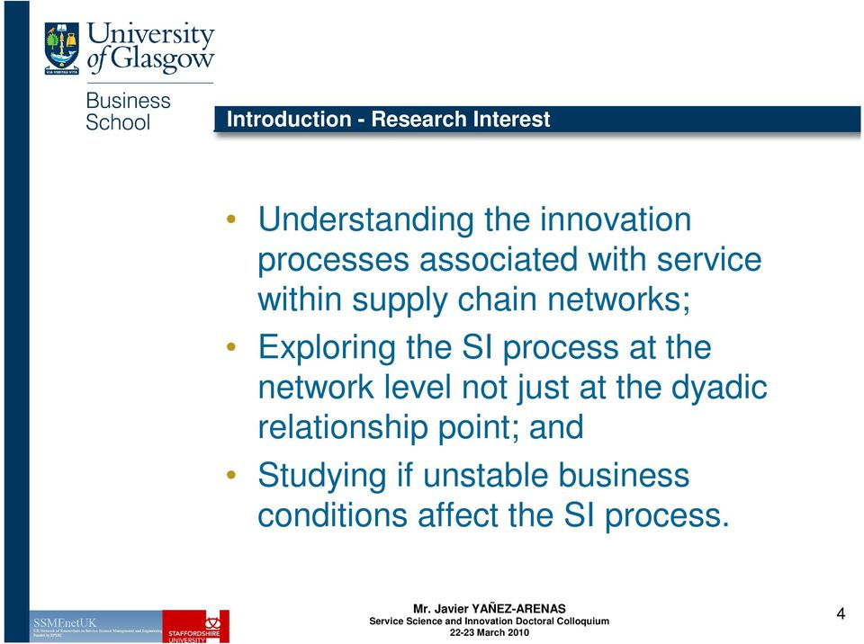 Exploring the SI process at the network level not just at the dyadic