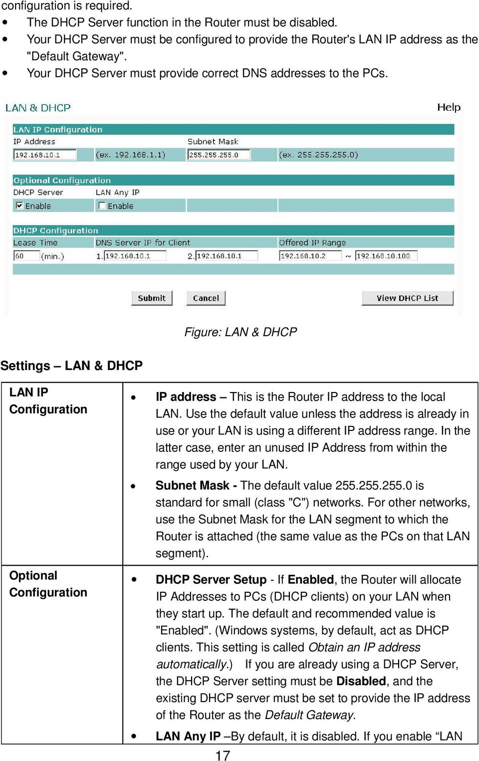 Figure: LAN & DHCP Settings LAN & DHCP LAN IP Configuration Optional Configuration IP address This is the Router IP address to the local LAN.