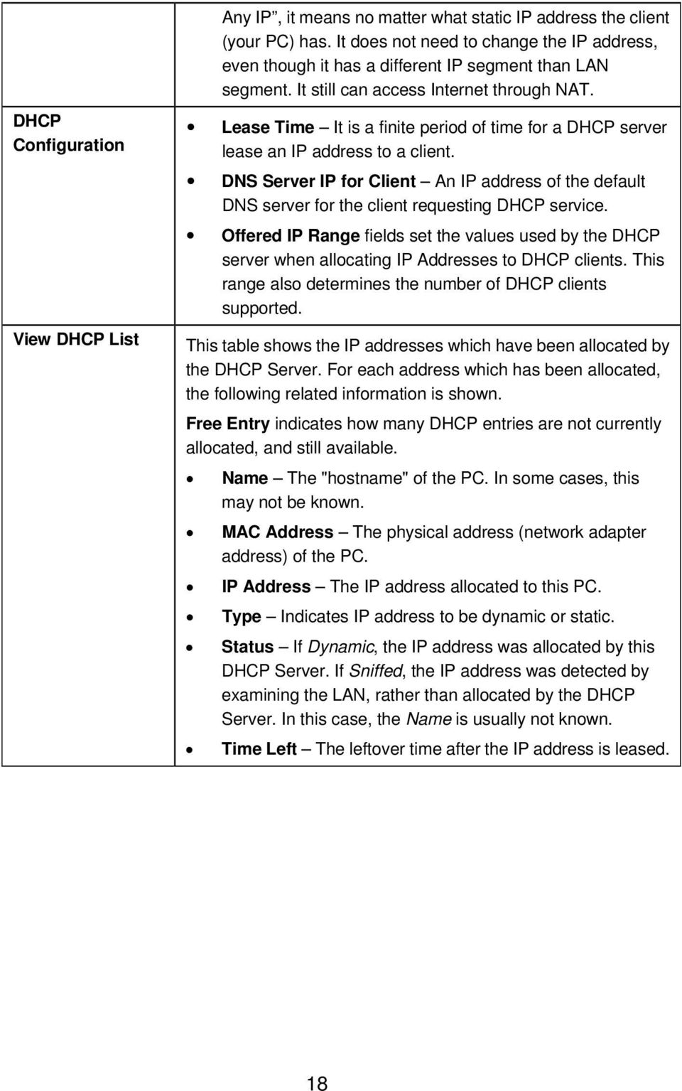 Lease Time It is a finite period of time for a DHCP server lease an IP address to a client. DNS Server IP for Client An IP address of the default DNS server for the client requesting DHCP service.