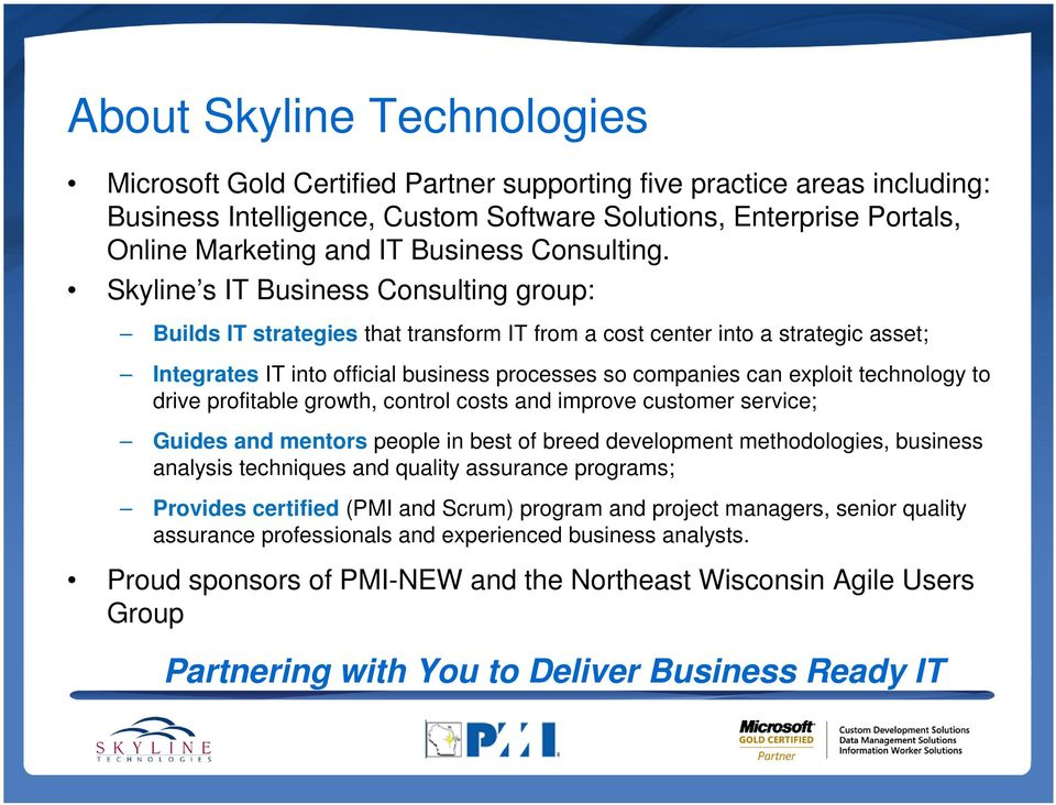 Skyline s IT Business Consulting group: Builds IT strategies that transform IT from a cost center into a strategic asset; Integrates IT into official business processes so companies can exploit
