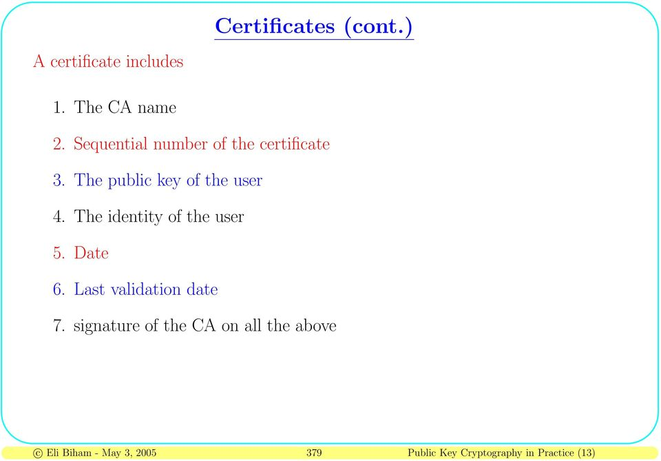 The identity of the user 5. Date 6. Last validation date 7.