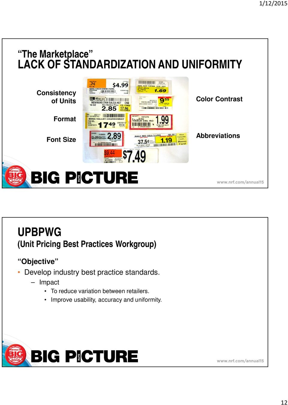 Practices Workgroup) Objective Develop industry best practice standards.