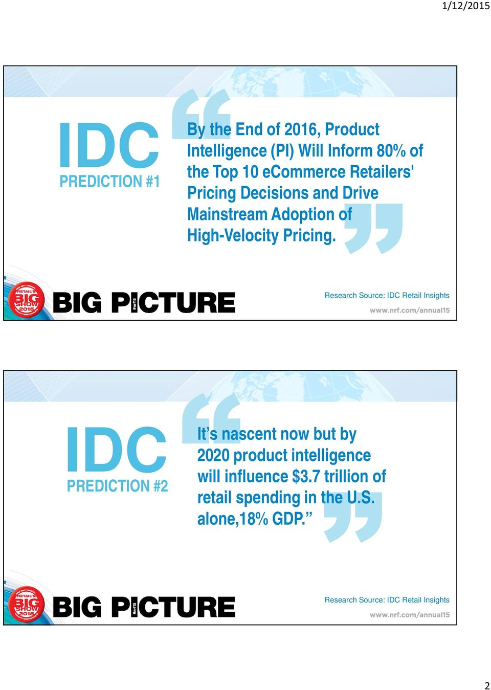 Research Source: IDC Retail Insights IDC PREDICTION #2 It s nascent now but by 2020 product