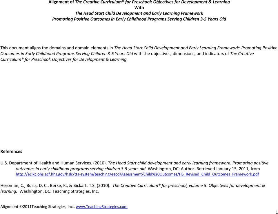 Early Childhood Programs Serving Children 3 5 Years Old with the objectives, dimensions, and indicators of The Creative Curriculum for Preschool: Objectives for Development & Learning. References U.S. Department of Health and Human Services.