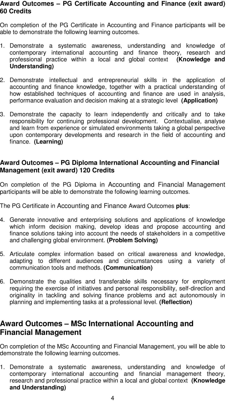 Demonstrate a systematic awareness, understanding and knowledge of contemporary international accounting and finance theory, research and professional practice within a local and global context