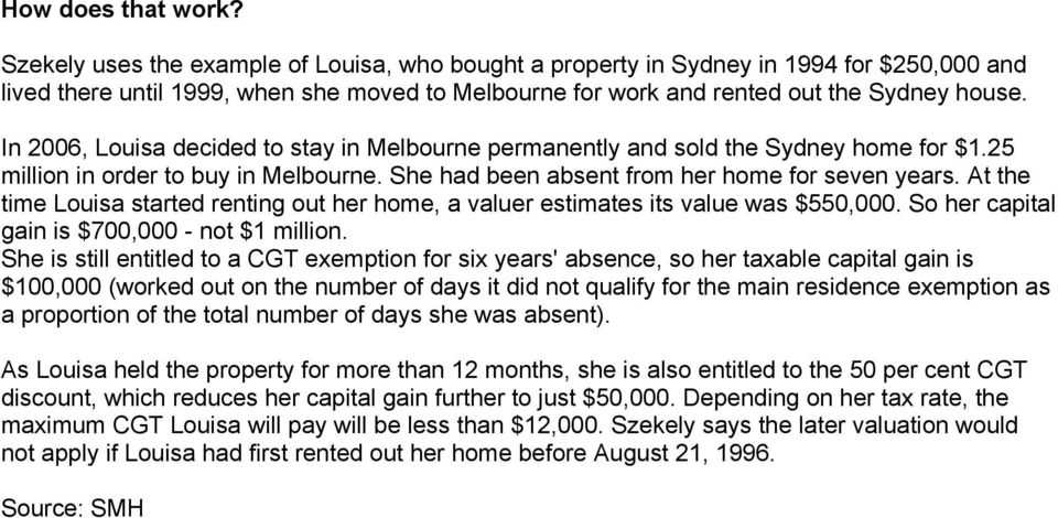 In 2006, Louisa decided to stay in Melbourne permanently and sold the Sydney home for $1.25 million in order to buy in Melbourne. She had been absent from her home for seven years.