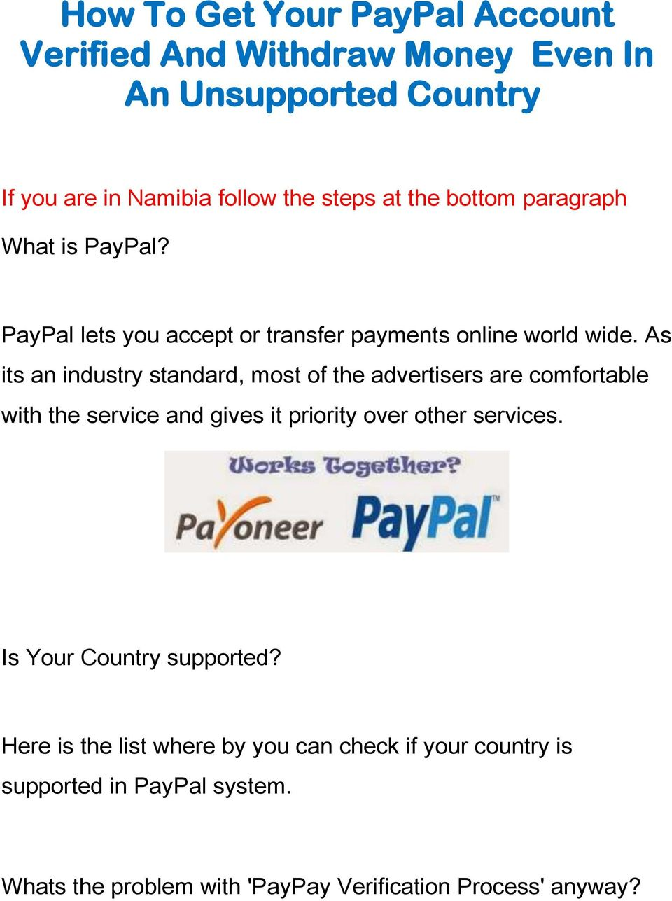 How To Get Your PayPal Account Verified And Withdraw Money Even In