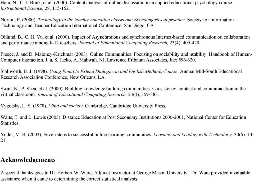Impact of Asynchronous and synchronous Internet-based communication on collaboration and performance among k-12 teachers. Journal of Educational Computing Research, 23(4), 405-420. Preece, J. and D.
