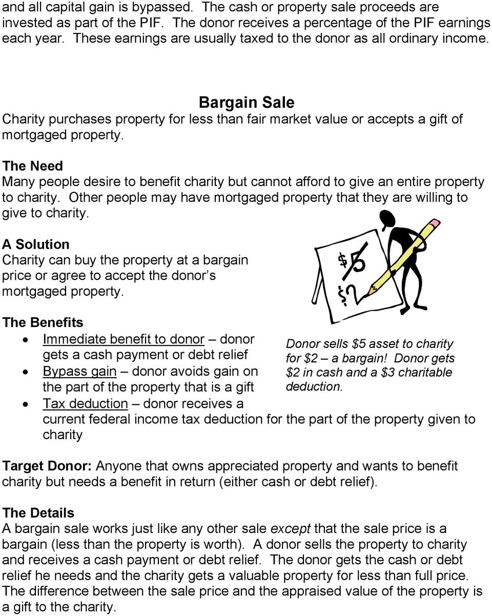 Many people desire to benefit charity but cannot afford to give an entire property to charity. Other people may have mortgaged property that they are willing to give to charity.