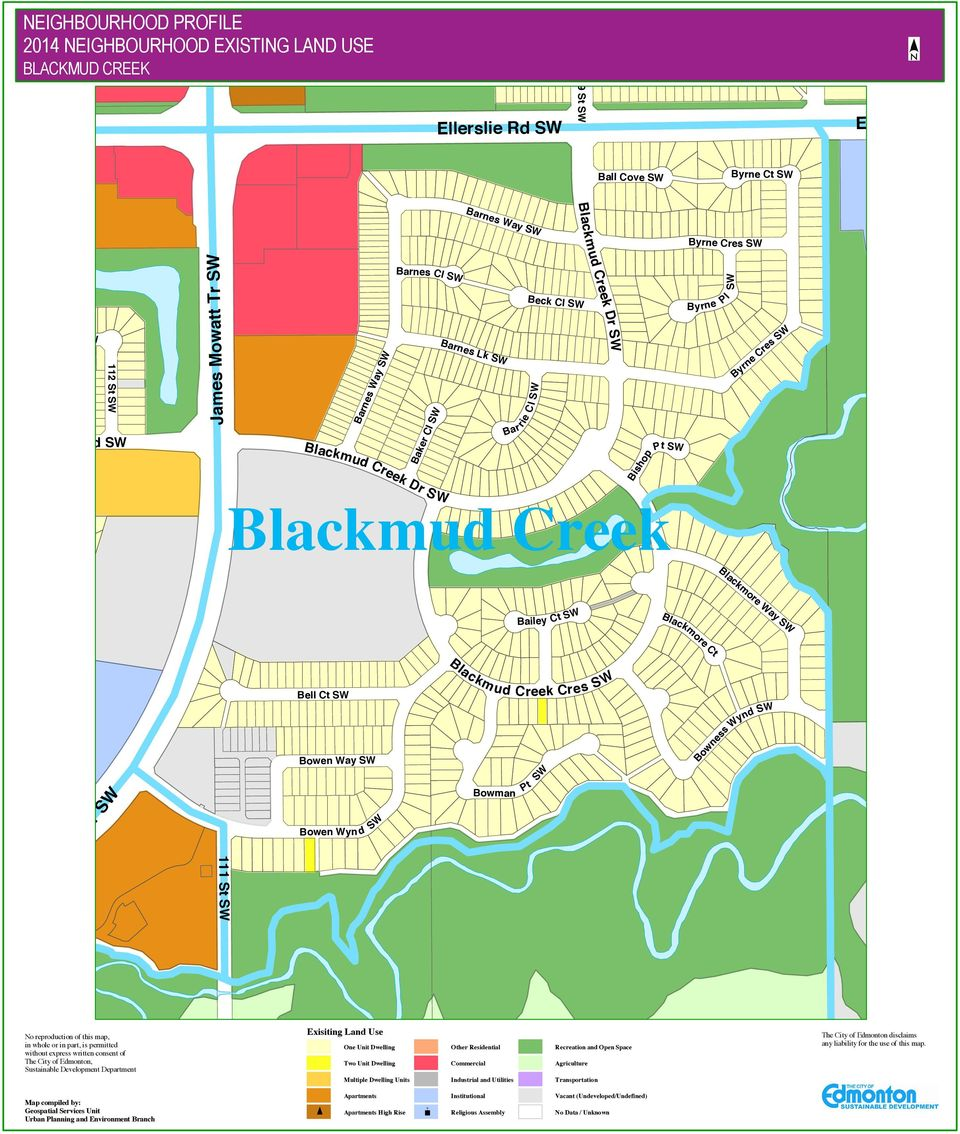 Bowman Creek Cres S W Pt Bowness Wynd No reproduction of this map, in whole or in part, is permitted without express written consent of The City of Edmonton, Sustainable Development Department