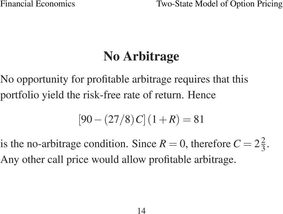 Hence [90 (27/8)C](1 + R)=81 is the no-arbitrage condition.