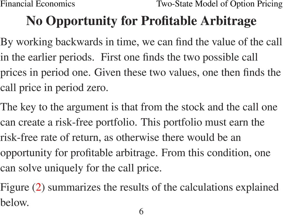 The key to the argument is that from the stock and the call one can create a risk-free portfolio.