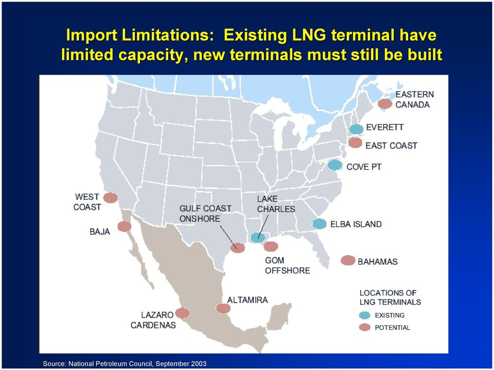 Existing LNG terminal have limited