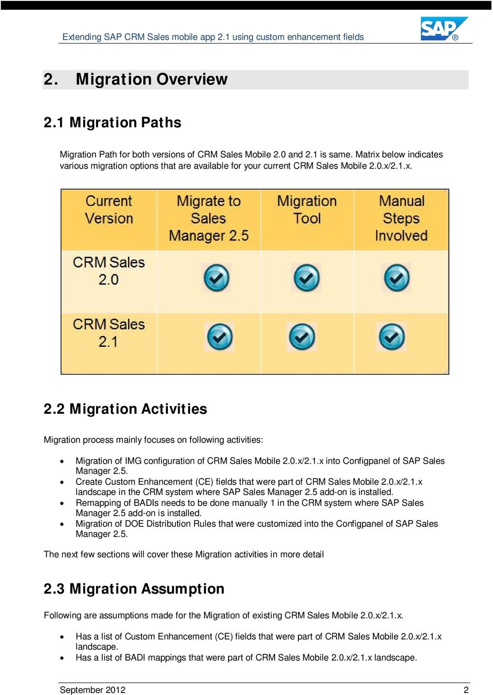 0.x/2.1.x. 2.2 Migration Activities Migration process mainly focuses on following activities: Migration of IMG configuration of CRM Sales Mobile 2.0.x/2.1.x into Configpanel of SAP Sales Manager 2.5.
