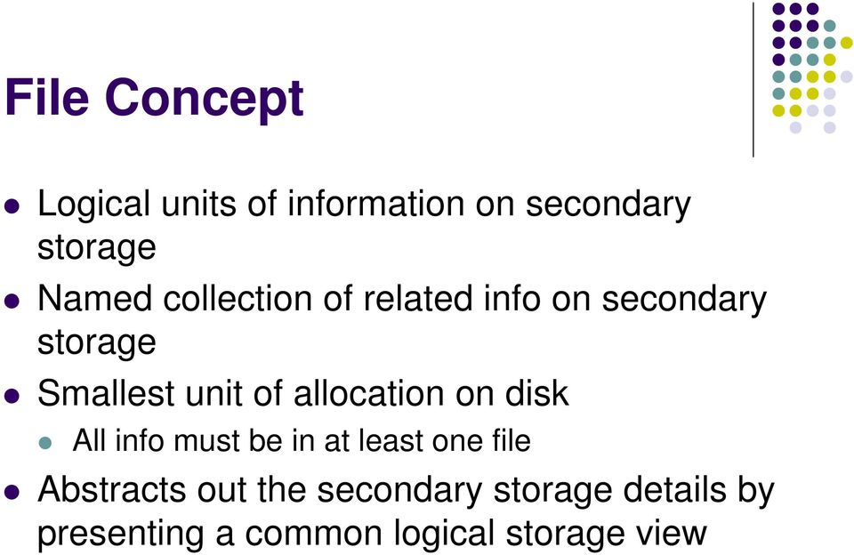 allocation on disk All info must be in at least one file Abstracts
