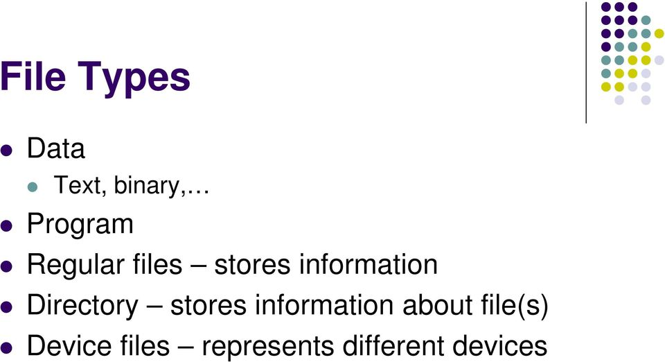 Directory stores information about