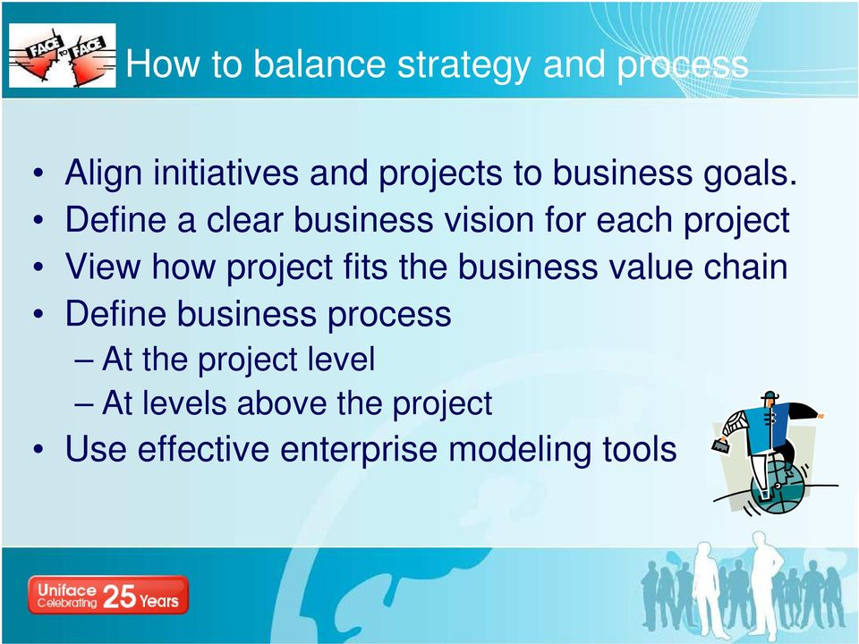 Define a clear business vision for each project View how project fits the