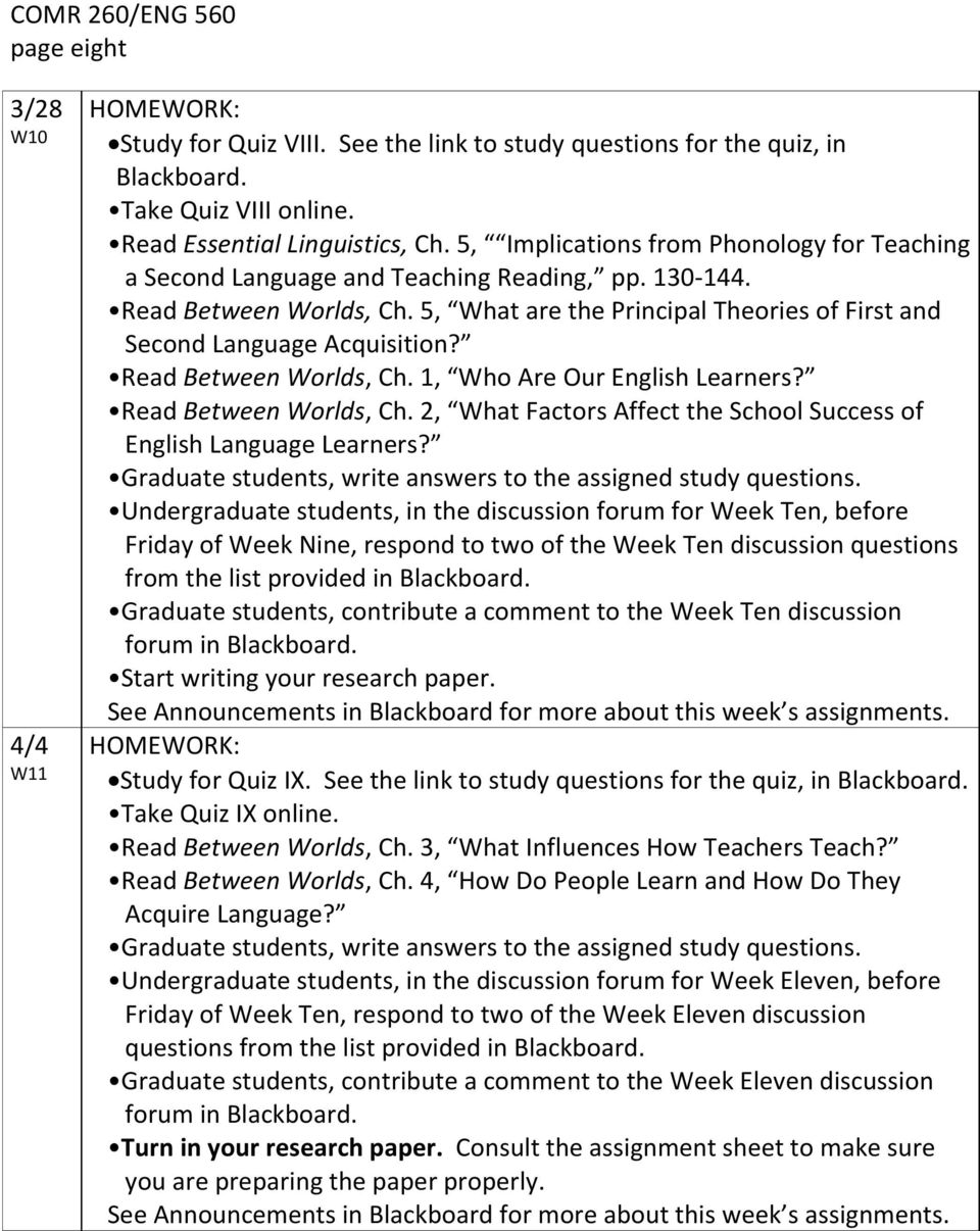 Read Between Worlds, Ch. 1, Who Are Our English Learners? Read Between Worlds, Ch. 2, What Factors Affect the School Success of English Language Learners?