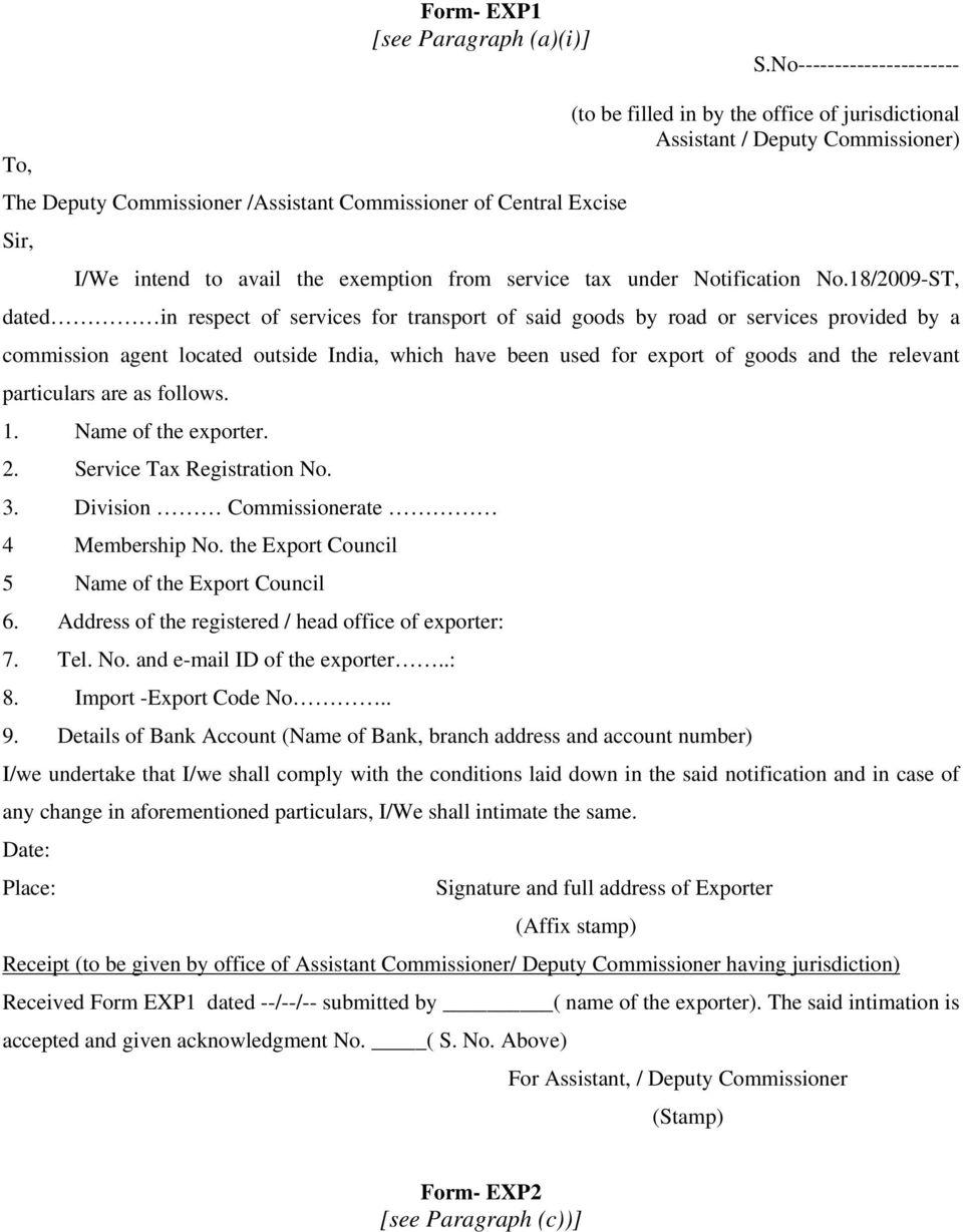 avail the exemption from service tax under Notification No.