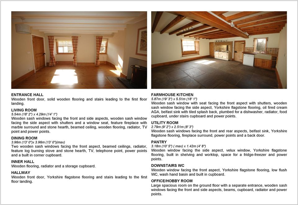 "beamed ceiling, wooden flooring, radiator, TV point and power points. DINING ROOM 3.96m (13' 0"")x 3."