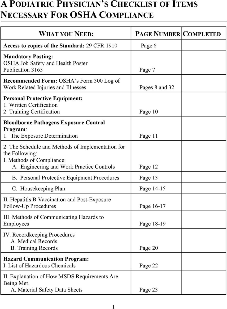 Training Certification Page 10 Bloodborne Pathogens Exposure Control Program: 1. The Exposure Determination Page 11 2. The Schedule and Methods of Implementation for the Following: I.