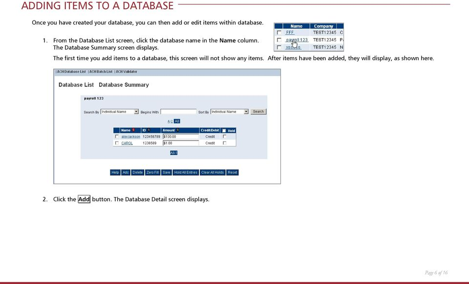 The Database Summary screen displays.