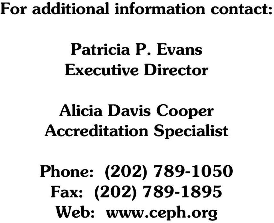 Cooper Accreditation Specialist Phone: (202)