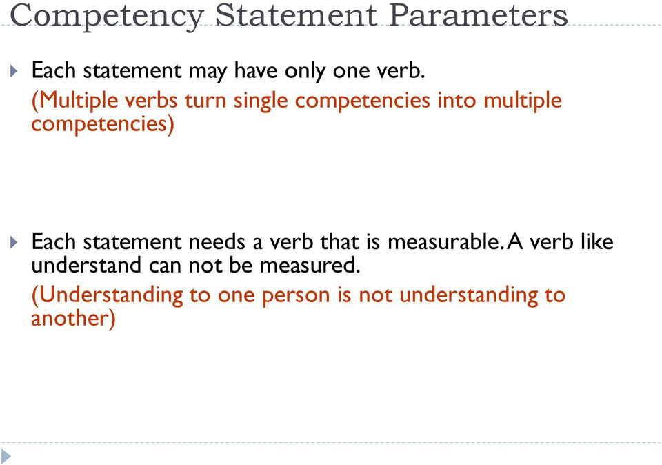 statement needs a verb that is measurable.