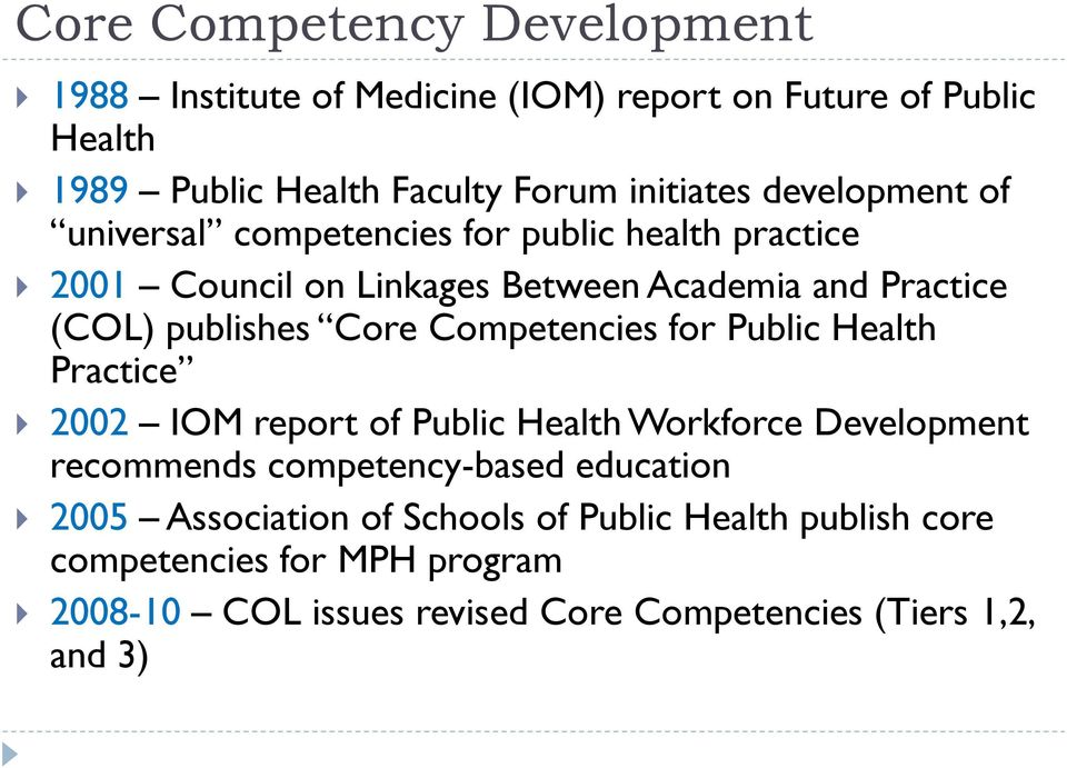 Competencies for Public Health Practice 2002 IOM report of Public Health Workforce Development recommends competency-based education 2005